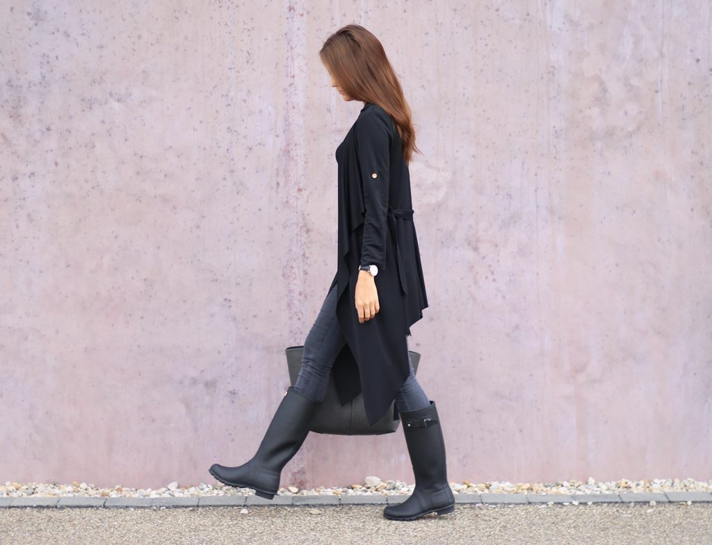 Black Outfit with Hunter Boots