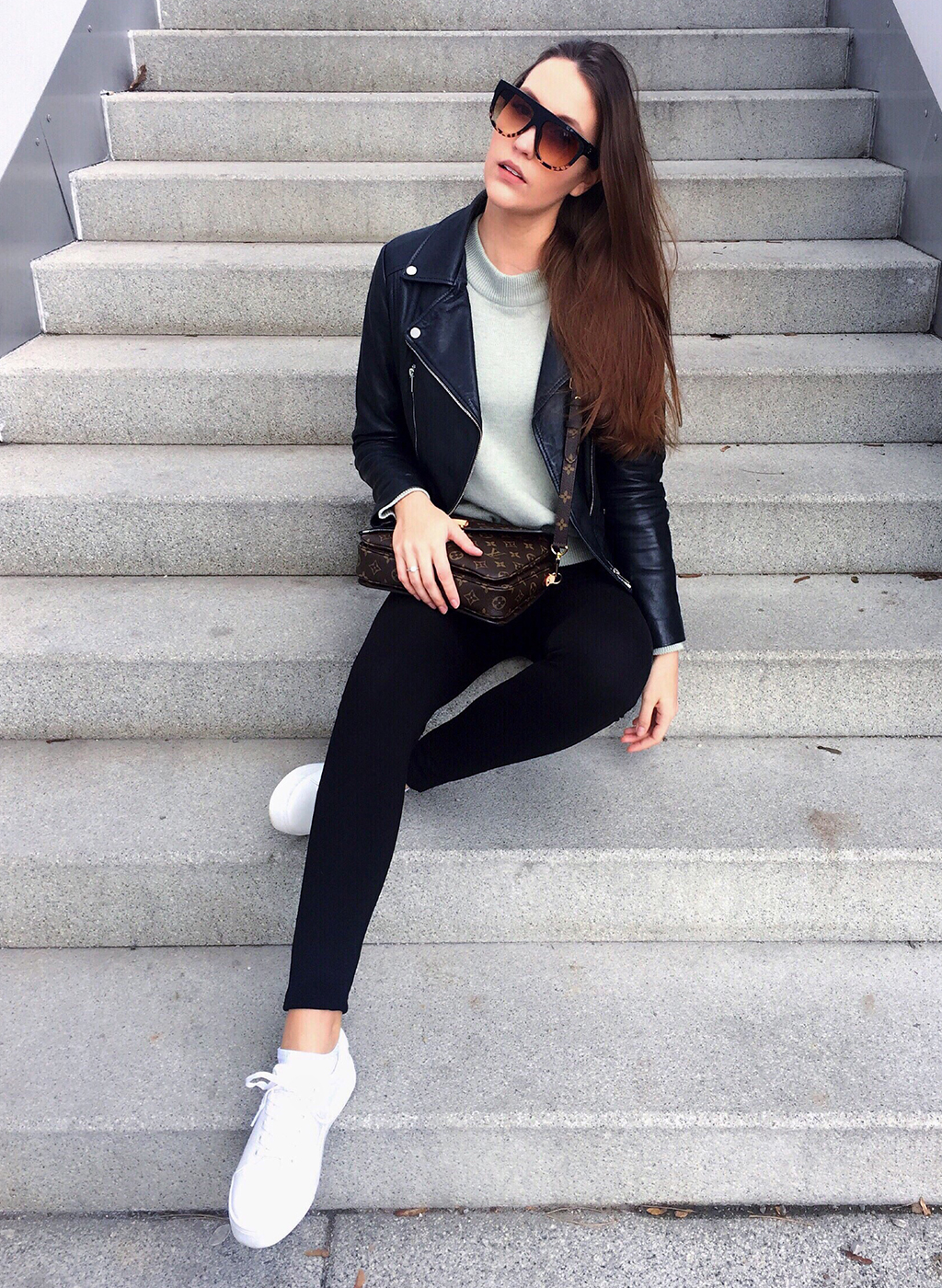 Outfit: Green Sweater + black Leather Jacket