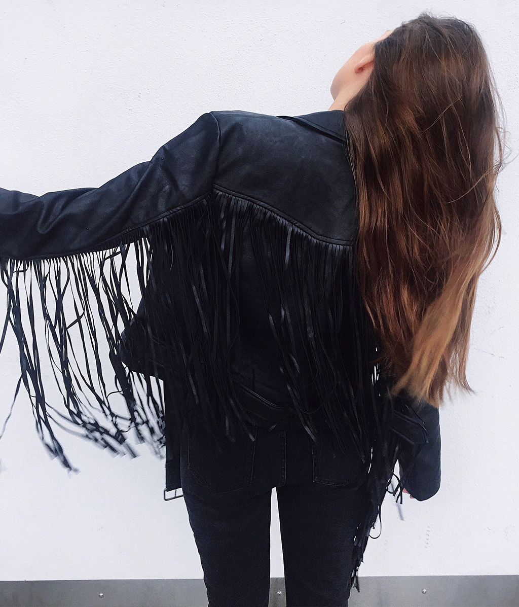 The Fringe PU Leather Jacket by Farina
