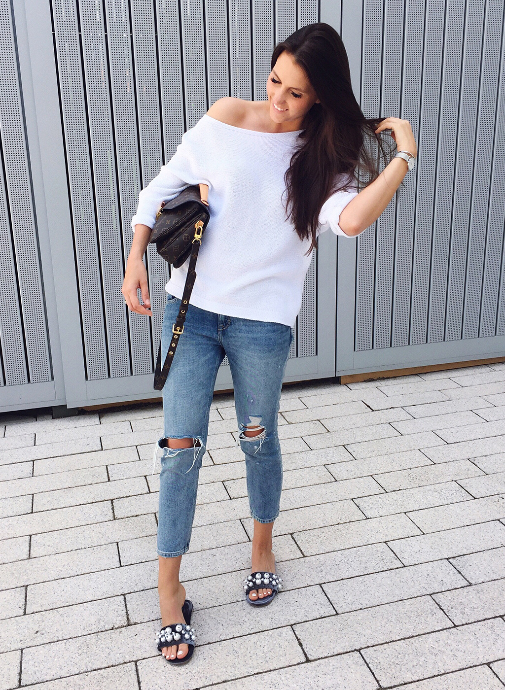 Perlen Pantoletten Outfit