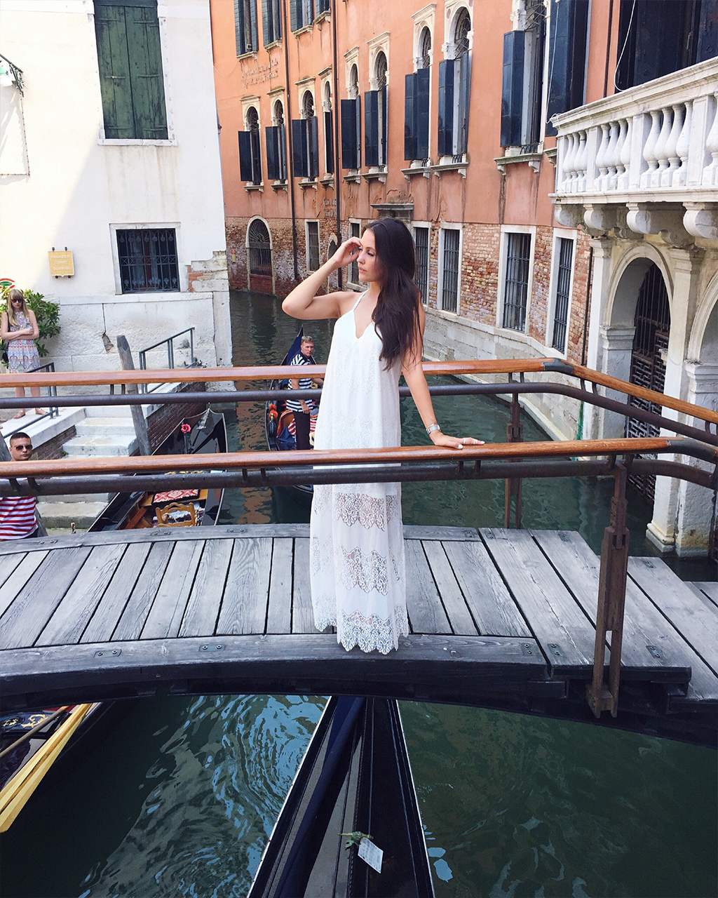 Venedig Brücke Weißes Maxi Kleid