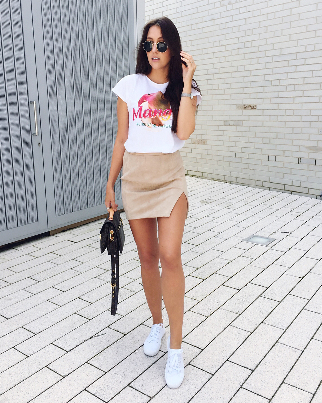 Overlapped Faux Suede Skirt