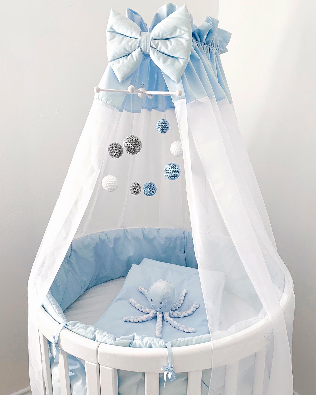 Babybett Rund verstellbar Blau Junge